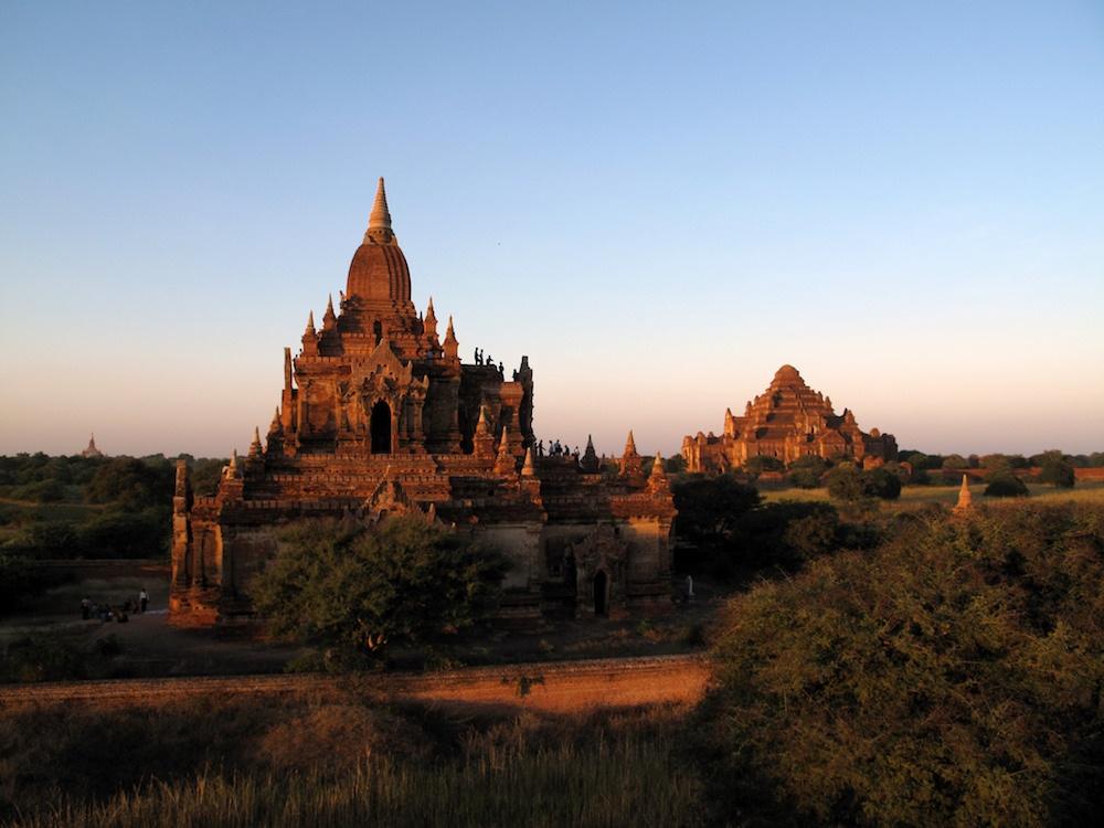 Myauk Guni and Dahmmayan Gyi Phaya golden temples in Burma