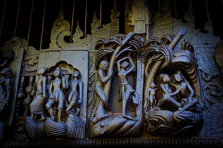 Salay's teak carved monasteries in Myanmar