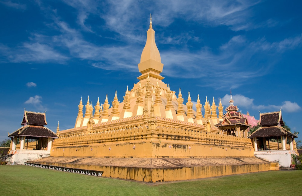 The golden Pha That Luang built in the 16th century.
