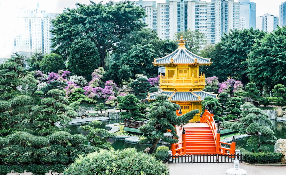 Gold Chinese pavilion at the Hong Kong Park