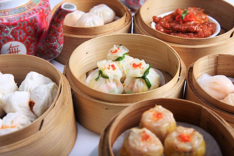 Dim sum dishes: spareribs, dumplings, bao, siomai