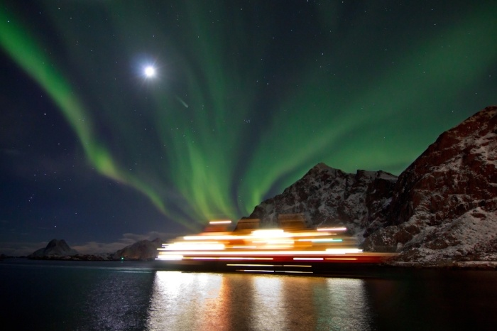 Searching for the Northern Lights on a ship in Norway